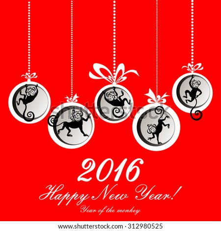 Happy new year 2016. Year Of The Monkey. Happy New Year greeting card. Celebration red background with Christmas balls, monkeys and place for your text. Vector Illustration  - stock vector