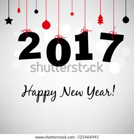 Happy New Years Card 2017, With Gradient Mesh, Vector Illustration