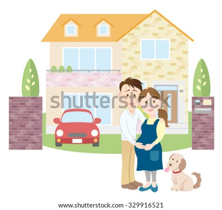 Happy newlyweds outside their new house - stock vector