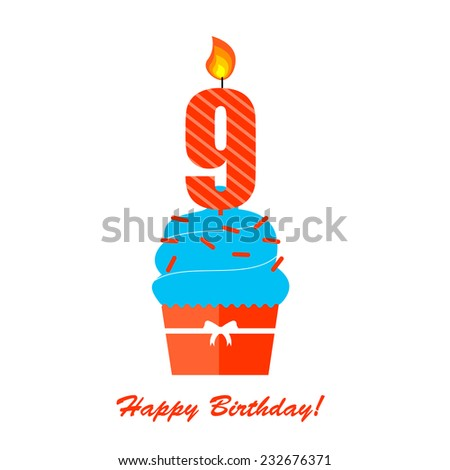 Happy Ninth Birthday Anniversary card with cupcake and candle in flat design style, vector illustration   - stock vector