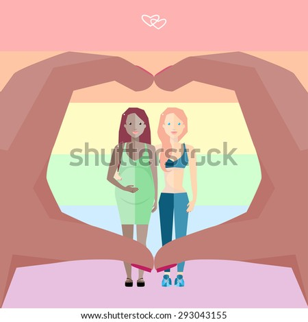 Happy Nontraditional Couple on a Rainbow Background. Hands Forming a Heart. Vector Illustration. - stock vector