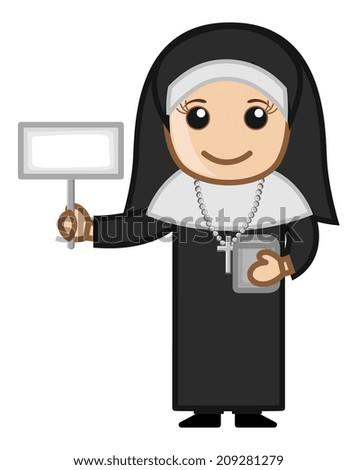Happy Nun Showing Blank Banner - stock vector
