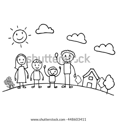 Happy of family cartoon character , Doodle hand drawing style