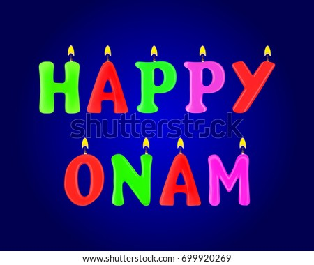 Happy Onam banner. Letters in the form of candles. 3d. Stock - Vector illustration