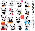 happy panda clip art - stock vector