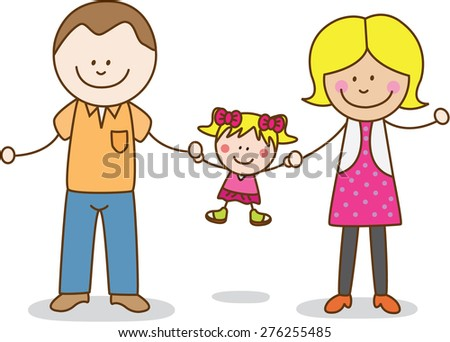 Happy parents and daughter - stock vector