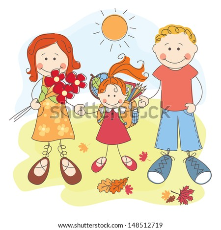 Happy parents and their daughter go to school. - stock vector