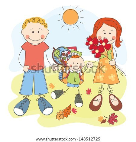 Happy parents and their son go to school. - stock vector