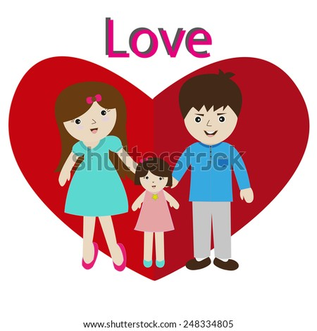happy parents having good time on valentines day with heart shape - stock vector