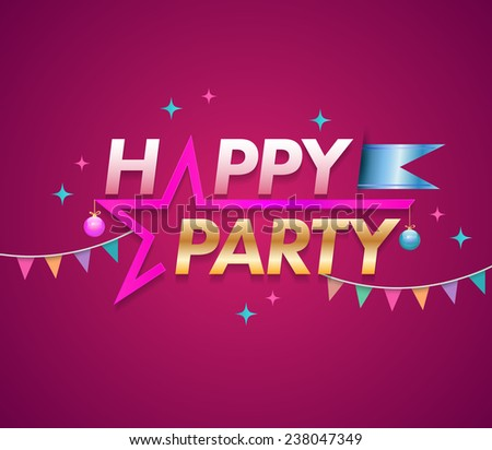 Happy Party design template with star. Vector illustration. - stock vector