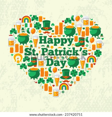Happy Patrick's Day Text Concept with Flat Lovely Icons Arranged in Form of Heart. Vector illustration. Patrick Day Frame. Green clover, leprechaun hat, pot with coins, Irish beer. - stock vector