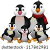 happy penguin family - stock vector