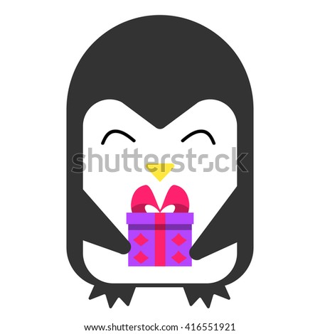 Happy penguin smiling and holding a gift. Vector flat illustration. - stock vector