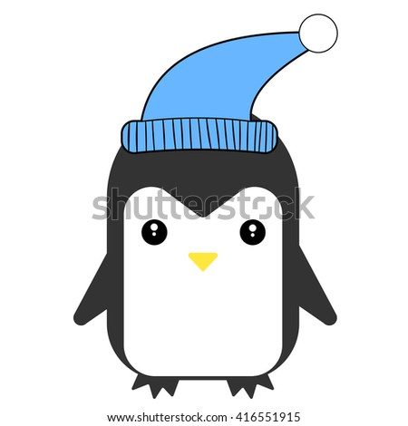 Happy penguin smiling and wears a blue hat. Vector flat illustration. - stock vector