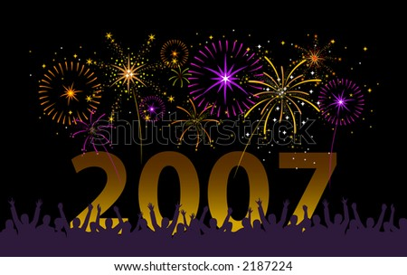 Happy people celebrating with fireworks in the night sky. The fireworks, year and crowd are on separate layers for easy isolation. - stock vector