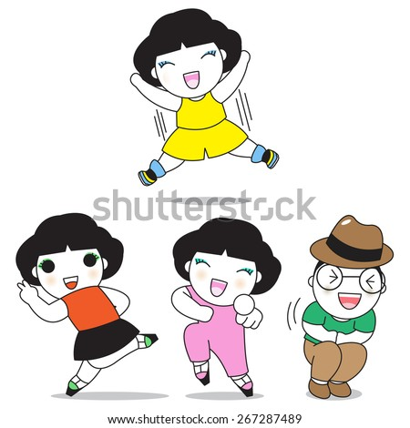 Happy People Characters illustration set - stock vector