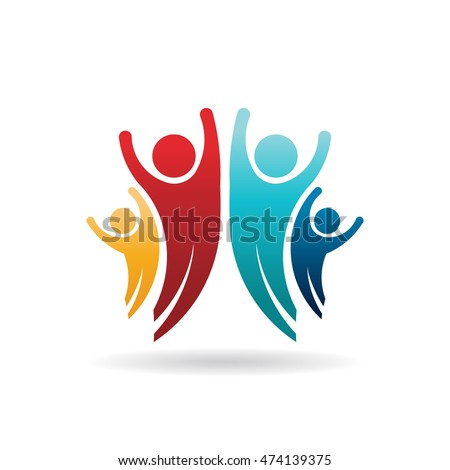Happy People Family Group Logo. Vector Illustration