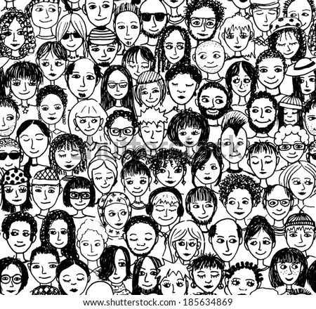 Happy people - hand drawn seamless pattern of a crowd of many different people from diverse cultural backgrounds who are smiling and happy (there's an image with unhappy people in my portfolio too) - stock vector