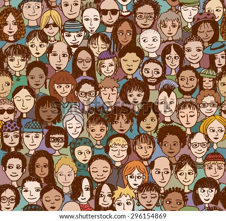 Happy people - hand drawn seamless pattern of a crowd of many different people from diverse ethnic backgrounds who are smiling and happy (there's an image with unhappy people in my portfolio too)