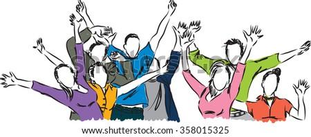 Happy people illustration - stock vector