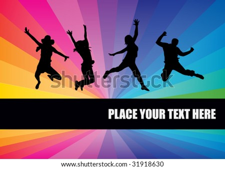 Happy people jump - stock vector