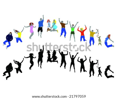 happy people jumping collection vector - stock vector