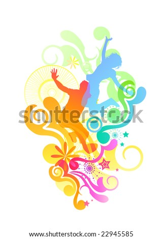 Happy people jumping with various design elements. Vector illustration - stock vector