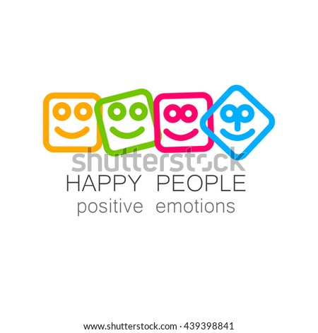 Happy people logo template. Concept logotype design for company. Positive emotions, happy games, entertainment sphere, unity emblem, happy people team, society fund and etc. Vector.   - stock vector