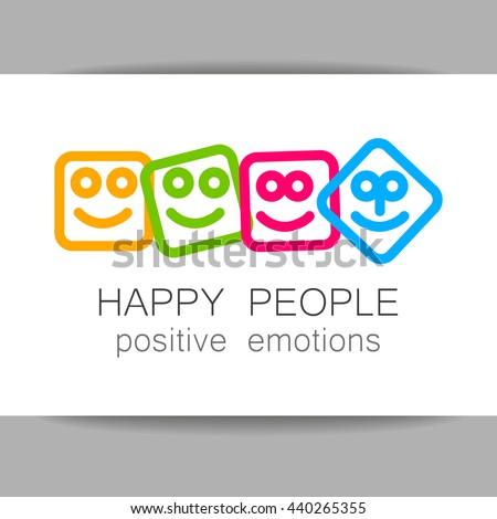 Happy people logo template. Concept logotype design for company. Positive emotions, happy games, entertainment sphere, unity emblem, society fund and etc. Vector.