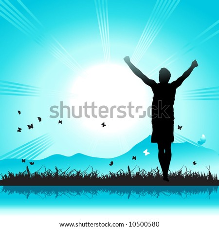 Happy people on nature, sunbeam, grass and butterfly - stock vector