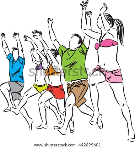 happy people running and jumping at the beach - stock vector