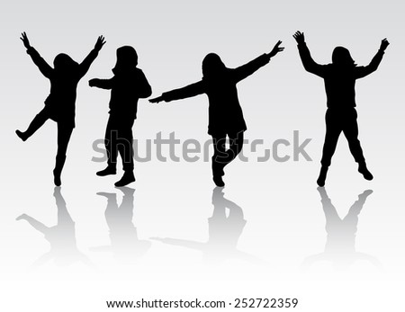 Happy people silhouettes outdoors - stock vector