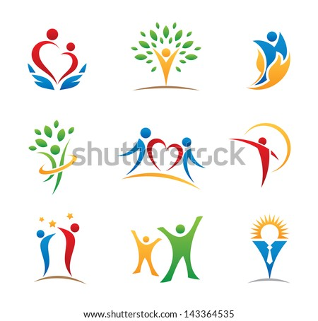 happy people symbols and icons - stock vector