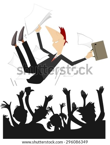 Happy people toss up a man with papers and bag - stock vector