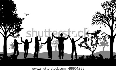 Happy people vector - stock vector