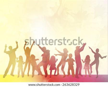 Happy people with children dancing - stock vector