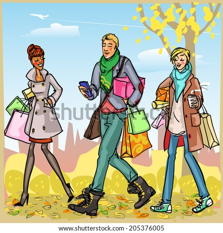 Happy people with shopping bags, Autumn park - stock vector