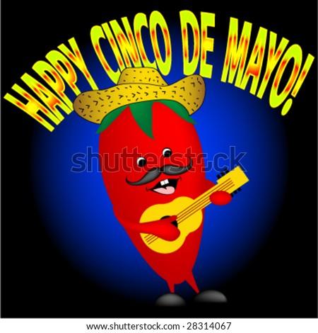 Happy pepper singing a happy Cinco De Mayo song. - stock vector