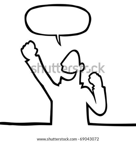 Happy person cheering - stock vector