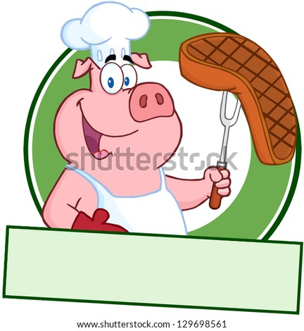 Happy Pig Chef Holding A Steak On Fork Over A Blank Banner - stock vector