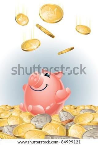 Happy piggy bank with lots of money - stock vector