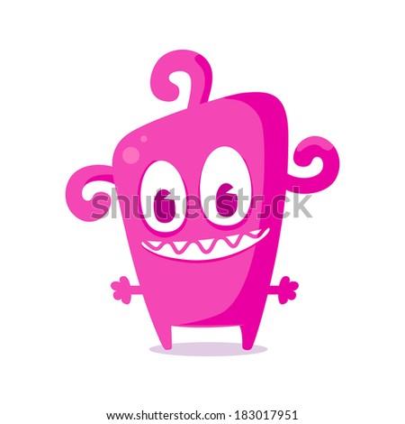 Happy pink monster - stock vector