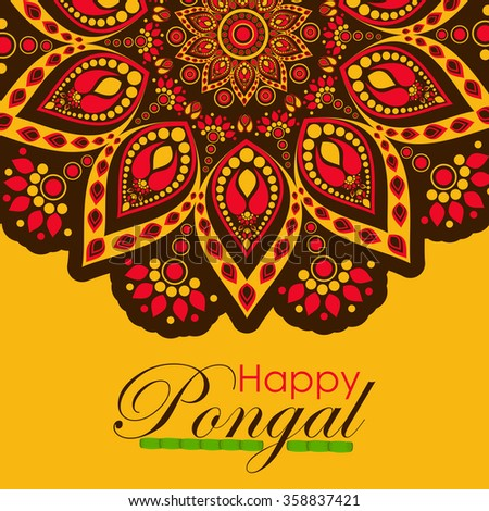 Happy pongal festival design decorated greeting stock vector happy pongal festival design decorated greeting card for south indian harvesting festival m4hsunfo