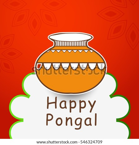Happy Pongal Greeting Card Background.