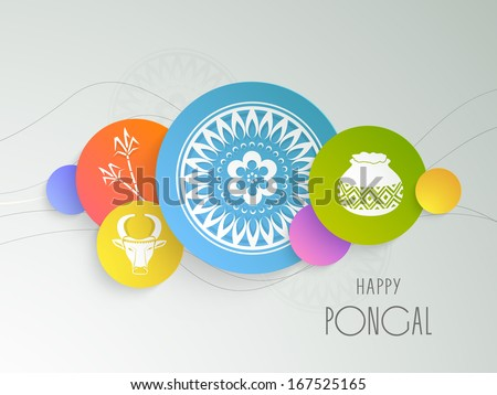 Happy Pongal, harvest festival celebration in South India with colorful stickers on grey background.  - stock vector
