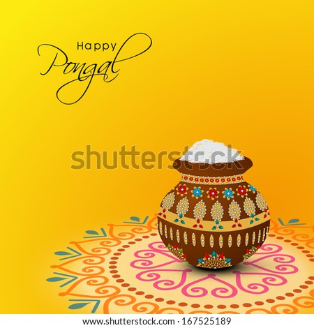 Happy Pongal, harvest festival celebration in South India with pongal rice in a traditional mud pot on beautiful floral design called rangoli. - stock vector