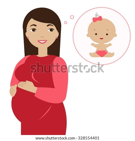 Happy pregnant woman dreams about her daughter. - stock vector