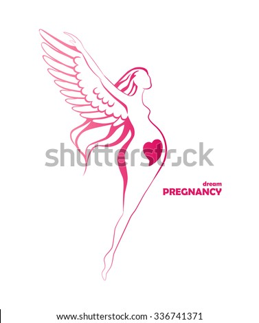 Happy pregnant woman hovering by the wings logo design. Stylized pregnant flying woman with wings on her arms and heart shape on belly. Template of company logotype. Vector illustration.