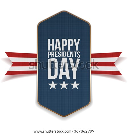 Happy Presidents Day Banner with striped Ribbon