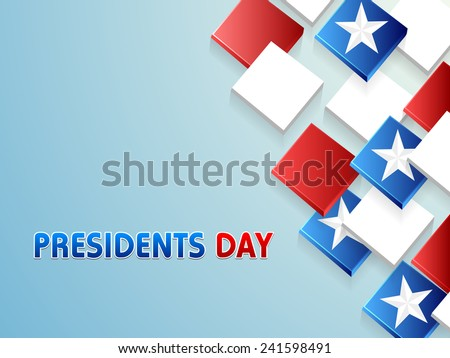 Happy Presidents Day celebration with shiny 3D blocks in United State of American flag color with stars on sky blue background. - stock vector